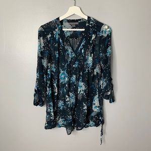 A Pea in the Pod Blue Floral Sheer Blouse